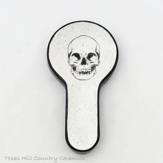 Long Handle Round Spoon Rest Skull Face Design in Black Kitchen Decor Food Prep