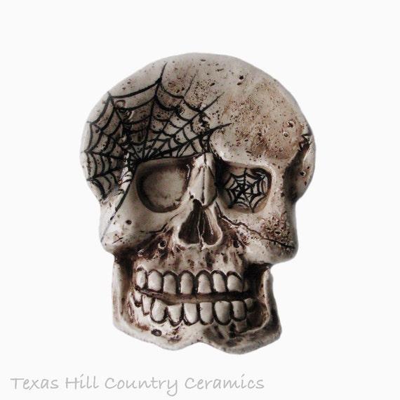 Aged Skull with Cobwebs Ceramic Tea Bag Holder Desk Accessory Spoon Rest