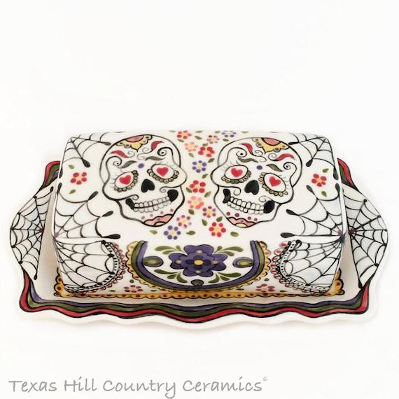 Ceramic Butter Dish and Lid, Sugar Skull Day of the Dead Design, Ceramic Serving Ware, Dia de los Muertos Hand Painted Mexican Folk Art