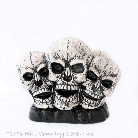 Skulls in a Row on Rock Base Ceramic Napkin Holder or Letter Holder or Mail Rack Haunted Halloween Decor