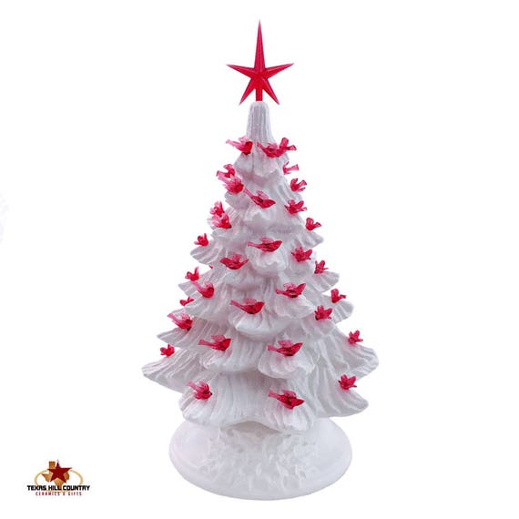 Soft Winter White Ceramic Christmas Tree 11 1/2 Inches Tall with Red Dove Bird Lights and Modern Style Red Star - Made to Order
