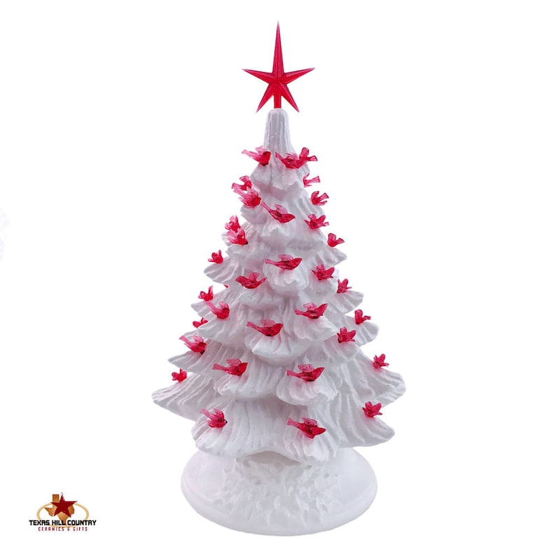 Soft Winter White Ceramic Christmas Tree 11 1 2 Inches Tall With Red Dove Bird Lights And Modern Style Red Star Made To Order