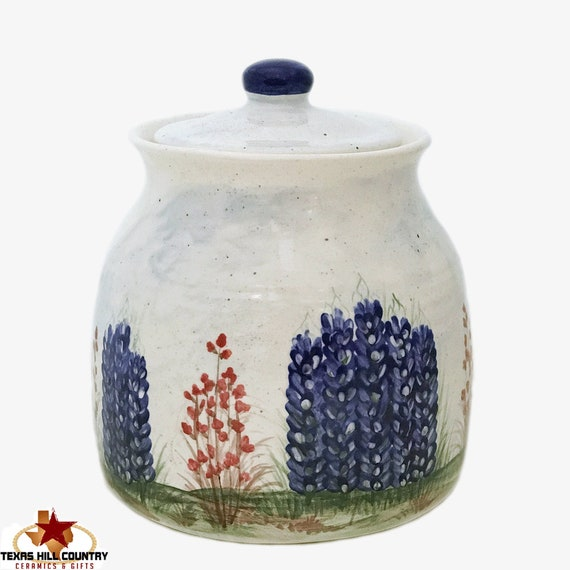Thrown Pottery Style Extra Large Canister or Cookie Jar Pottery Style with Hand Painted Texas Bluebonnets - Made to Order