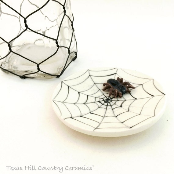 Round Ceramic Tea Bag Holder w/ Spider Web Design and Small Tarantula Small Ceramic Spoon Rest Haunted Halloween Fun Decorations
