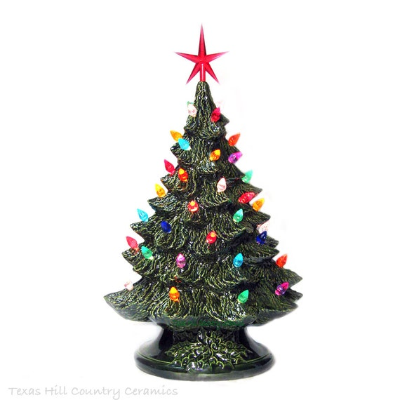 Celebrate Holiday Traditions with a Ceramic Christmas Tree 16 Inch Tall Green Tabletop Tree - Made to Order
