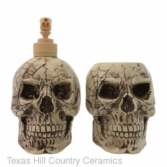 Ceramic Skull With Cobweb Design Soap Dispenser and Toothbrush Holder Set for Bath Vanity or Kitchen Decor