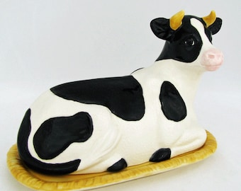 Ceramic Spotted Cow Butter Dish Tray and Lid White and Black Spots Simply Bovine Ceramic Earthenware Butterdish Made in the USA