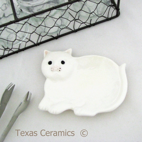 Ceramic White Cat Tea Bag Holder, Small Spoon Rest or Catch All for Home or Office