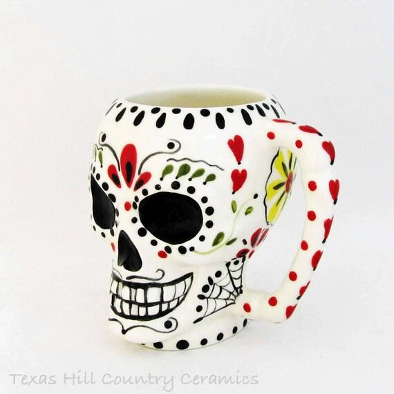 Ceramic Sugar Skull Mug or Coffee Cup Day of The Dead Original Hand Painted Colorful Mexican Folk Art Design Dia de los Muertos Traditions