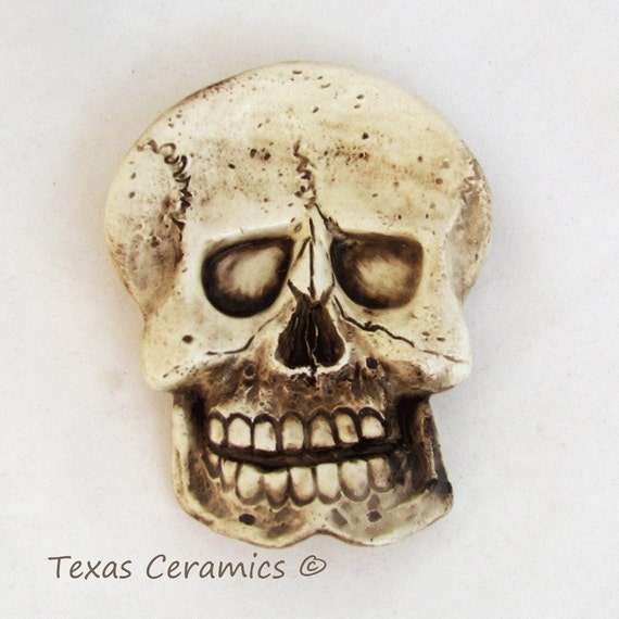 Aged Human Skeleton Skull Ceramic Tea Bag Holder Spoon Rest Desk Accessory Pirate Skull Ware