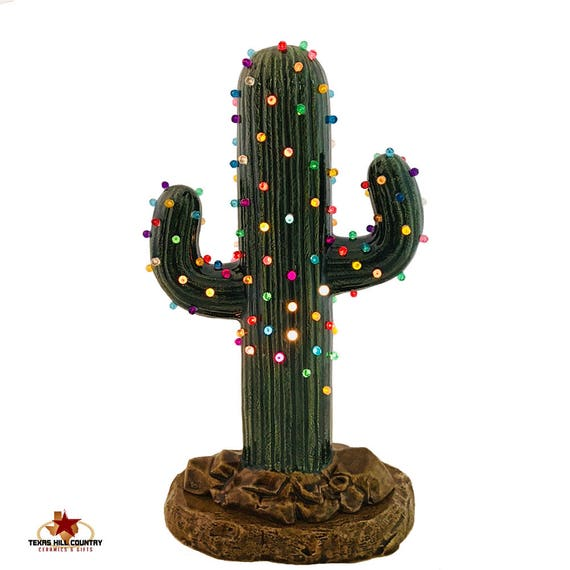 Saguaro Cactus Ceramic Christmas Tree Color Lights Electric Base 12 Inch Tall Southwest Desert Holiday Home or Office Decor