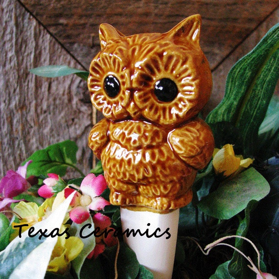 Wide Eyed Brown Owl Plant Tender or Watering Spike for Potted Plants Made From Vintage Ceramic Mold