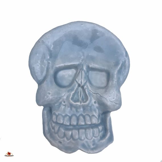 Ceramic Skull Tea Bag Holder or Small Spoon Rest in Light Blue, Halloween Decor, Ring Dish or Trinket Tray for Bath Vanity, Desk Accessory
