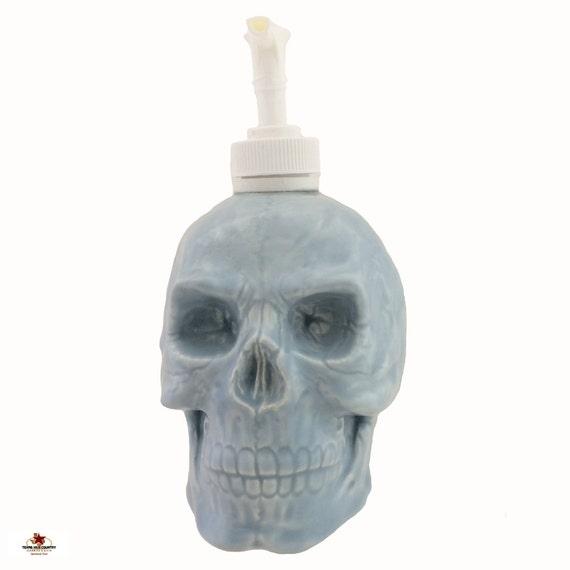 Light Blue Ceramic Skull Soap Dispenser or Lotion Pump Dispenser Bottle for Bath Vanity Kitchen Counter or Phrenologist Office