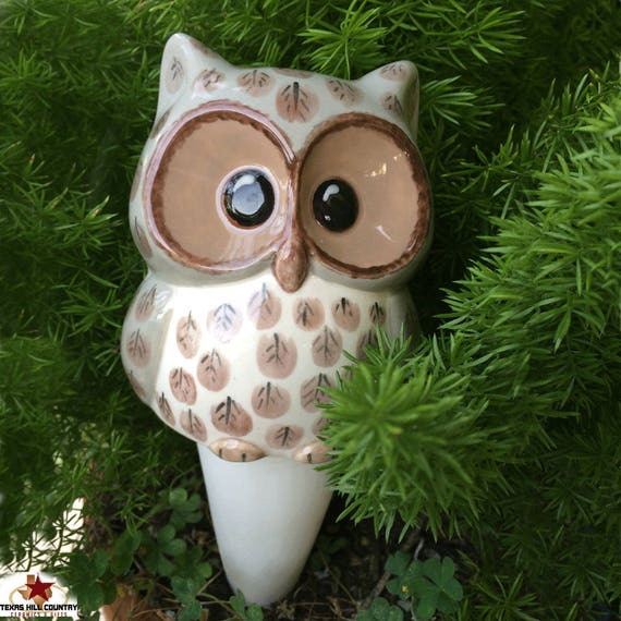 Large Ceramic Brown Owl Plant Tender or Watering Spike for Potted Plants Garden Containers Indoors or Outdoors Made in the USA