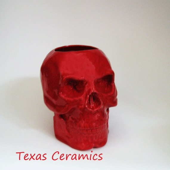 Ceramic Red Skull Toothbrush Holder Pencil or Tool Caddy Container or Planter for Flowers Live or Dried Silk Plants