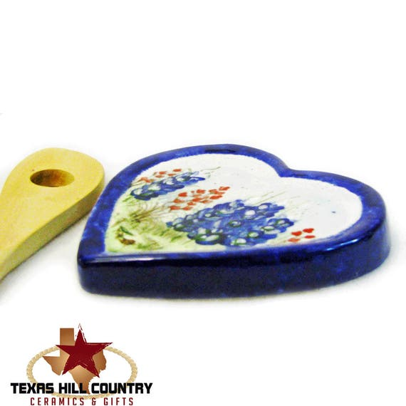 Ceramic Heart Shape Spoon Rest, Hand Painted Texas Bluebonnet Wildflowers, Spring Flower Kitchen Decor,Hill Country Gift - Made to Order