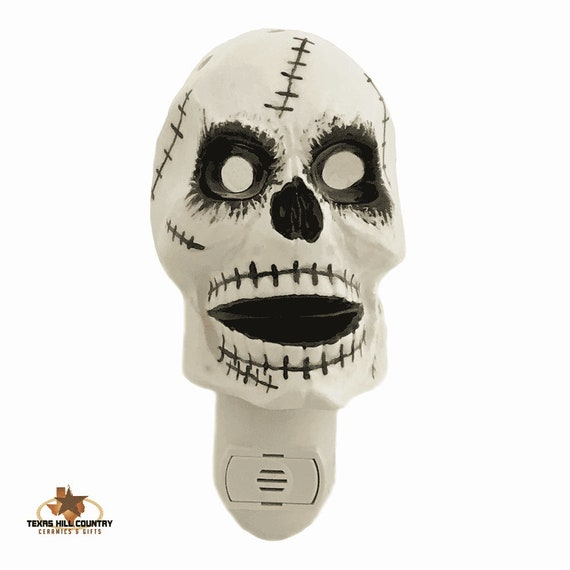 Zombie Skull Night Light with Glowing Eye Sockets, Ceramic Skull Halloween Decorating for Home or Office