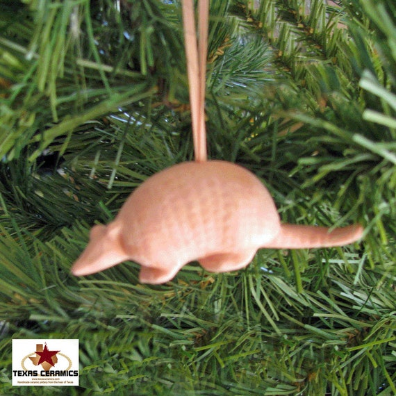 Armadillo Christmas Tree Ornaments Set of 3 Made of Terra Cotta Color Clay with Ribbon Hanger Wreath Ornament