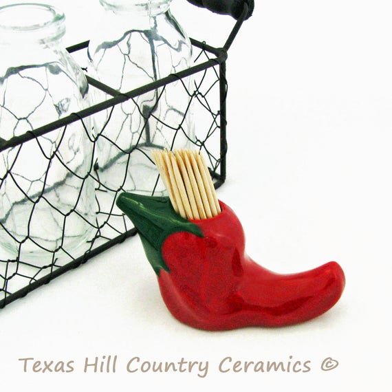 Red Chili Pepper Toothpick Holder Southwest Style Kitchen Dining Decor Table Accent
