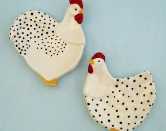 Ceramic White Chicken Hen and Rooster Set Tea Bag Holder or Spoon Rest Country Farm Kitchen Decor