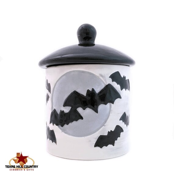 Halloween Treat Jar or Spooky Black Sugar Bowl and Lid with Flying Black Bats and Full Moon Fun, Creepy Canister Decor for Home or Office