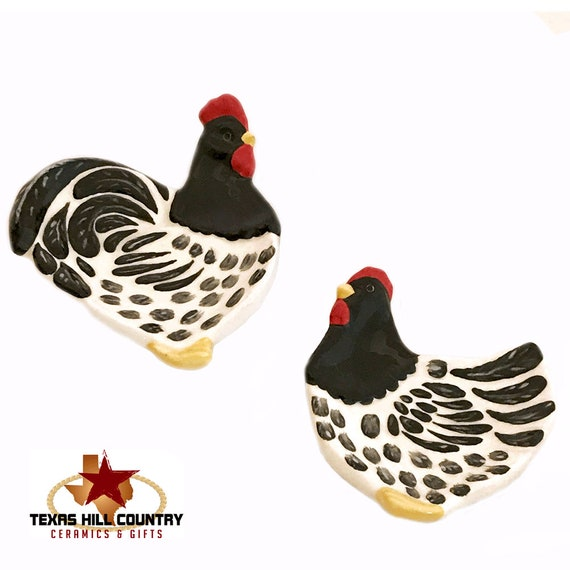 Chicken and Rooster Ceramic Tea Bag Holder Set  Black and White Folk Art Design, Country Farm Kitchen Decor
