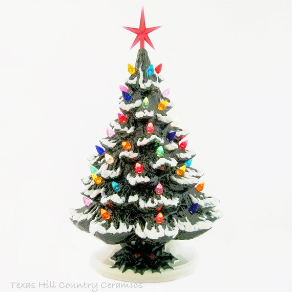 Snow Falling at Christmas Ceramic Christmas Tree 16 Inch Tall Tabletop Style Green Snow on Branches Color Lights Detail Base - Made to Order