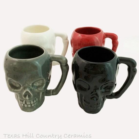 Halloween Skull Mug Set of 4 Haunting Creep Ware with Bone Style Handle Handmade Coffee Mugs Colors Black, Grey, Red and White