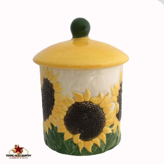 Ceramic Sunflower Container and Lid, Country Sunflower Kitchen Ware Sugar Bowl or Salt Canister, Candy Holder, Bath Vanity Container