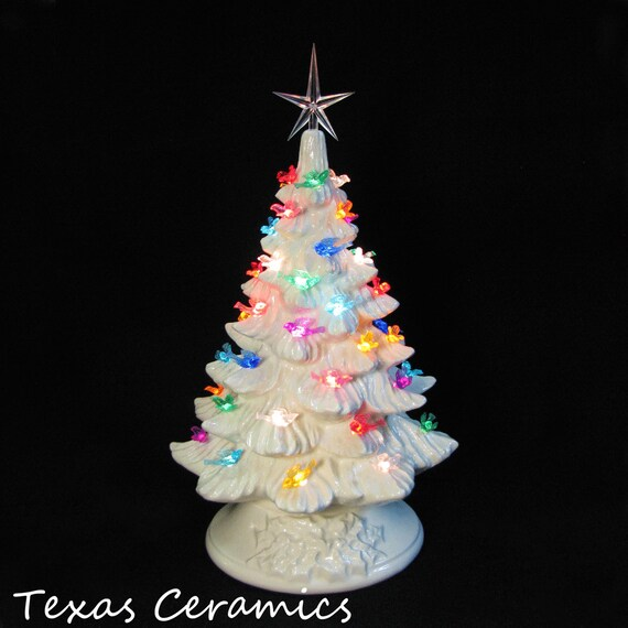 White Ceramic Christmas Tree with Colorful Dove Bird Lights 16 Inch Tall Tabletop Style Electric Lighted Base You Pick the Color of Star