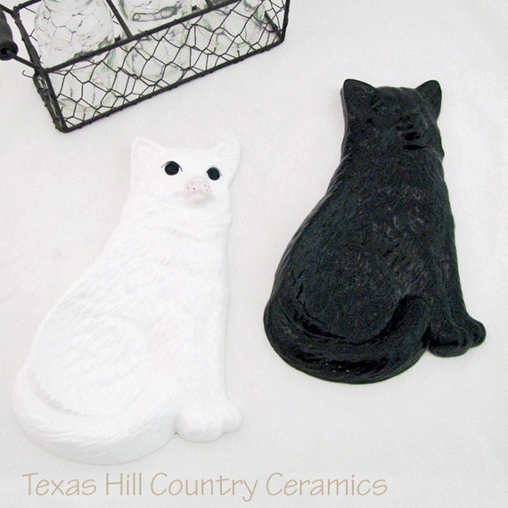 Ceramic Cat Spoon Rest for Kitchen Countertops or Cook Stoves Your Choice Solid Black or Soft White