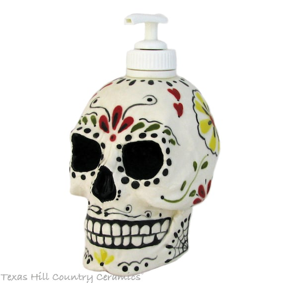 Day of the Dead Sugar Skull Ceramic Skull Dispenser for Soap or Lotion Dia de los Muertos Celebrations Mexican Folk Art Design