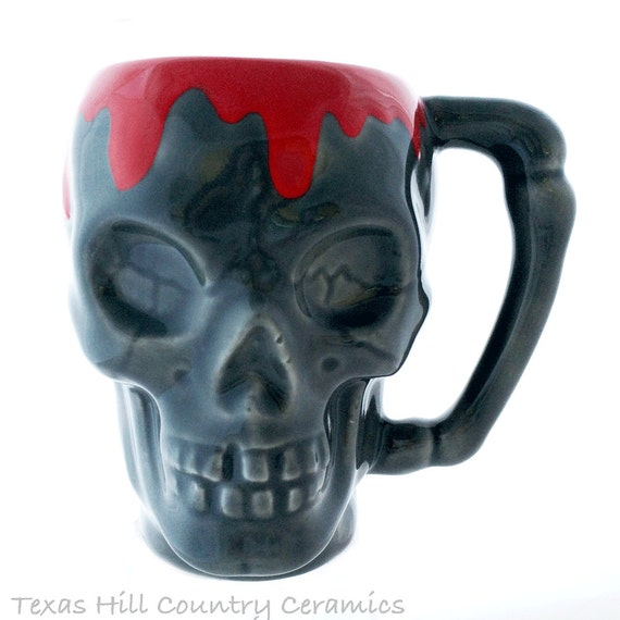 Gray Ceramic Skull Mug with Blood Red Drips Running Over Top Edge Solid Bone Style Handle 8 Oz Food Safe Glaze Freaky Halloween Skull Mug