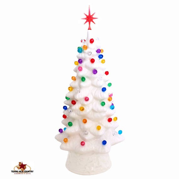 The Night Before Christmas White Ceramic Christmas Tree 10 Inch Tall with Snowflake Star and Colorful Round Lights - MADE TO ORDER