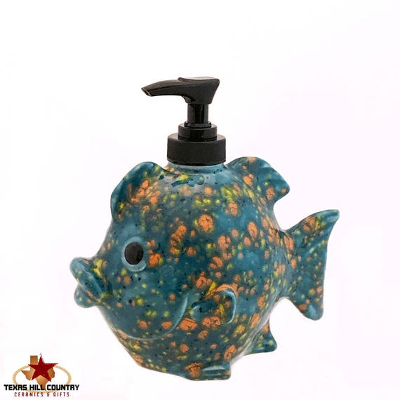 Ceramic Fish Soap Dispenser for Kitchen or Bath Vanity in Shades of Yellow Orange Blue and Specks of Navy Made in the USA