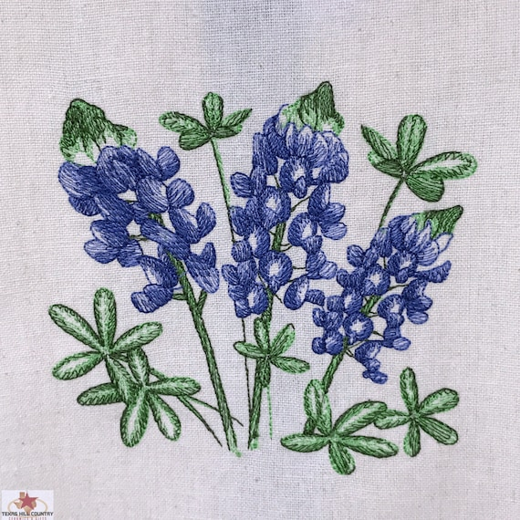 Cotton Dish Towel with Texas Bluebonnet Wildflowers Embroidered, Made in Texas, Retro Blue Stripe Accent 100% Cotton Towel