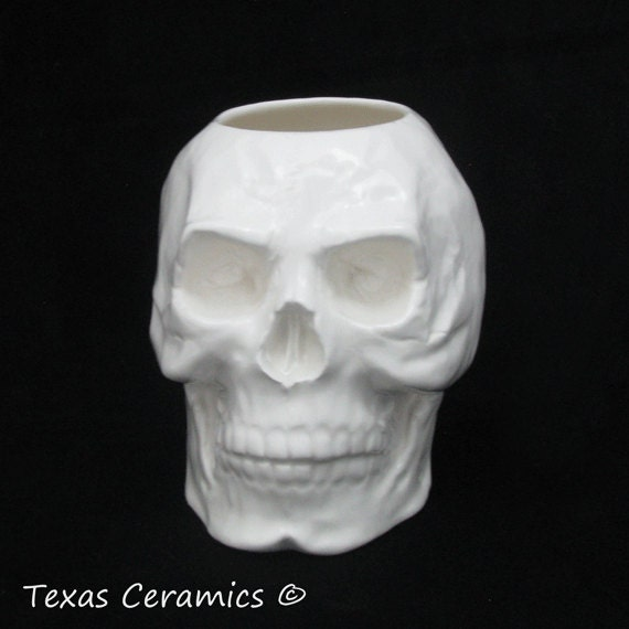 White Ceramic Skull Toothbrush Holder, Skull Planter, Pencil or Tool Caddy. Bath Vanity Make-Up Brush Holder or Kitchen Container