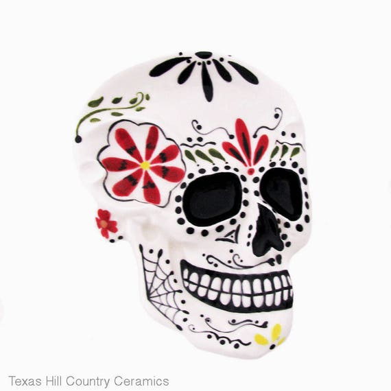 Day of the Dead Sugar Skull Large Spoon Rest Ceramic Decor Tableware Serving Tray Catch All Decorative Dia de los Muertos Dish
