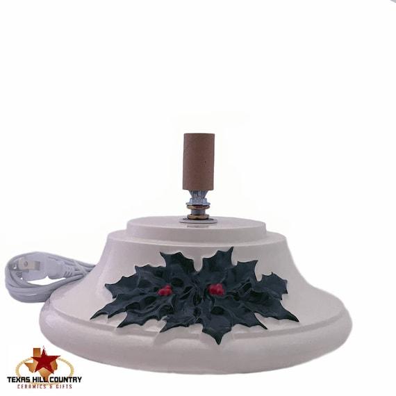 Replacement Base for Extra Large Vintage Christmas Tree with Detailed Holly and Berry Design Hand Painted - Made to Order