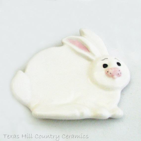 Soft White Bunny Rabbit Ceramic Tea Bag Holder Easter Time Decoration Soap Dish Jewelry Tray or Small Spoon Rest