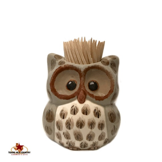 Owl Toothpick Holder in Tan and Brown Tones with Hand Painted Feather Detail, Ceramic Owl Made in the USA