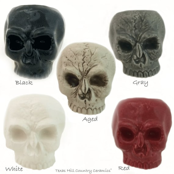 Skull Napkin Ring Ceramic Table Ware Place Setting Accessory Halloween Decor Your Choice of Color, Aged, Black, Gray, Red or White