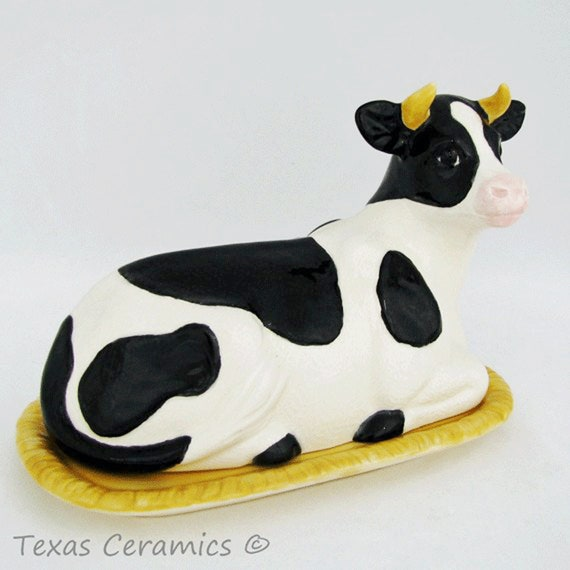 Ceramic Custom Made Spotted Cow Butter Dish Tray and Lid White and Black Spots Simply Ceramic Butterdish Made in USA
