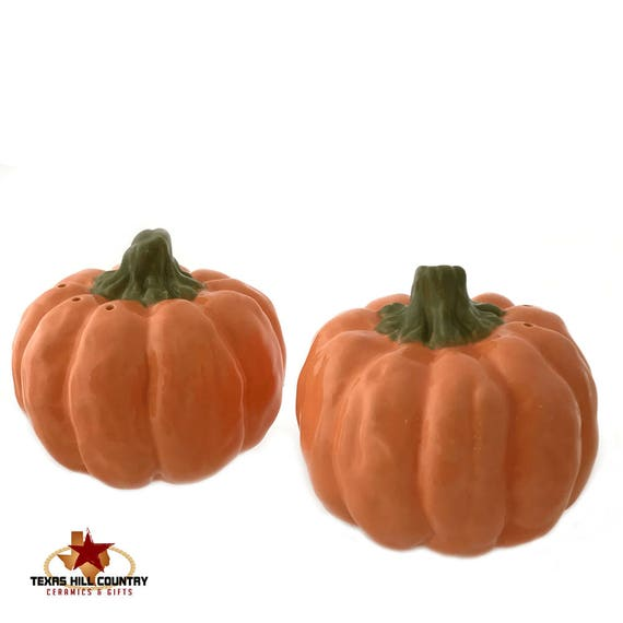 Orange Pumpkin Salt and Pepper Shakers for Halloween or Thanksgiving Fall Holiday Table Decorating or Collecting Made in the USA