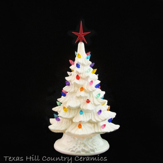 Joy to the World Winter White Ceramic Christmas Tree 11 1/2 Inch Tall Colorful Lights and Star Electric Lighted  Made to Order
