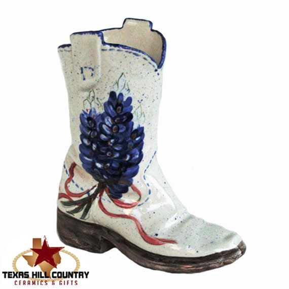 Western Boot Kitchen Cooking Utensil Holder or Organizer with Hand Painted Texas Bluebonnets - Made to Order