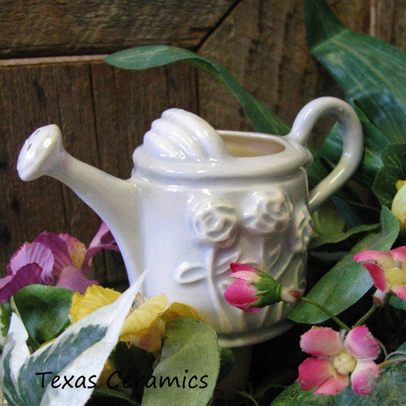 Ceramic Watering Can Plant Tender or Watering Irrigation Flower Embossed on Each Side Periwinkle Wash or White
