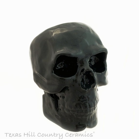 Ceramic Skull Scrubby or Sponge Holder or Storage Container Halloween Candy Jar with Open Area in Back - Your Choice of Color