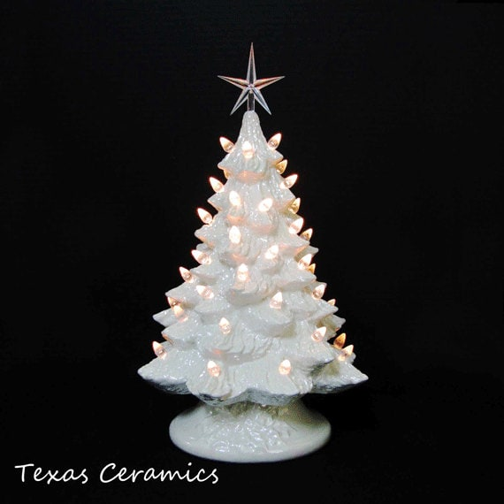Vintage Cheer Soft Antique White Ceramic Christmas Tree 16 Inch Tall Clear Lights and Star - Made to Order